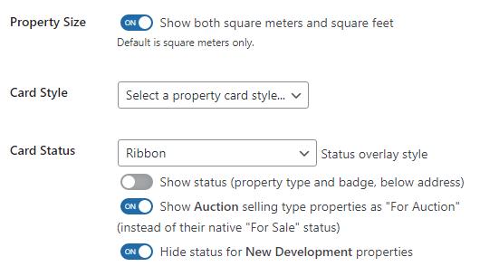 Property Size Settings