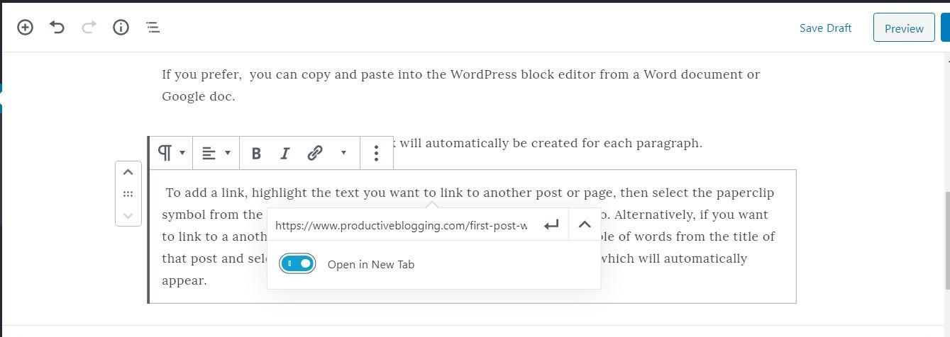 How to add a link in a blog post using the WordPress block editor